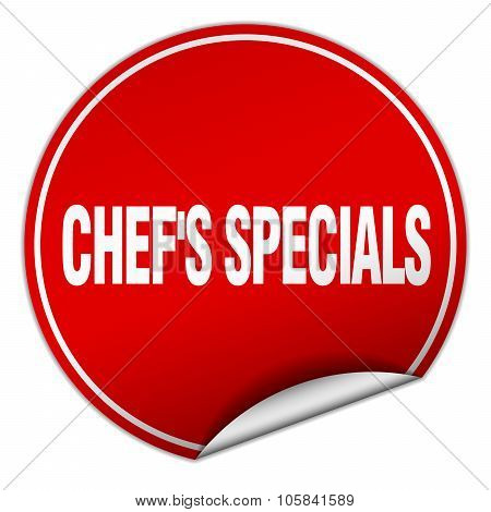 Chef's Specials Round Red Sticker Isolated On White