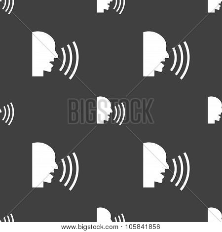 Talking Flat Modern Web Icon. Seamless Pattern On A Gray Background. Vector
