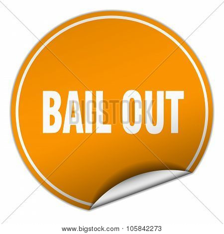 Bail Out Round Orange Sticker Isolated On White