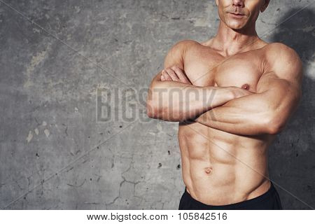 Fitness Portrait Abdominal Muscles Half Body Six Pack No Shirt