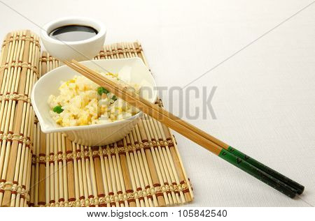 Fried rice, traditional chinese recipe, cantonese food