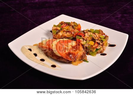 Chicken Breast Parmesan Crust, Cranberry Sauce And A Ratatouille Vegetables