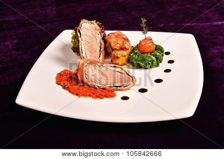 Pork Tenderloin In Bacon Wrap With Tomato Sauce