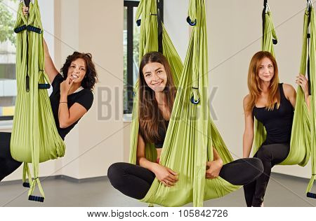 Antigravity yoga women portrait