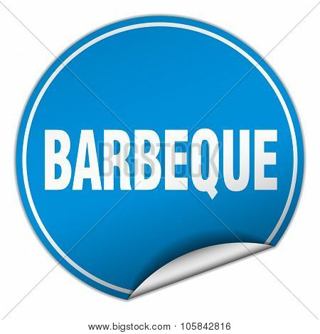 Barbeque Round Blue Sticker Isolated On White