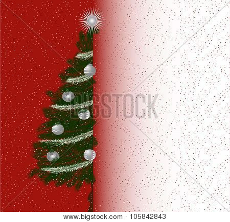 Christmas Letterhead With Evergreen Pine Tree And Blank Space For Text. Vector Template.