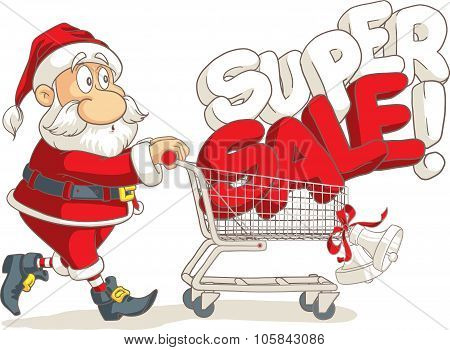 Santa Claus Super Sale Vector Cartoon