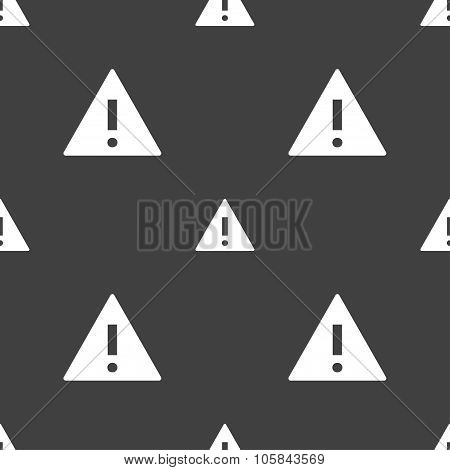 Attention Sign Icon. Exclamation Mark. Hazard Warning Symbol. Seamless Pattern On A Gray Background.