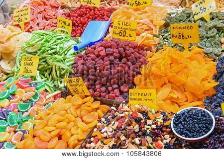 Dry fruits at a market in Istanbul