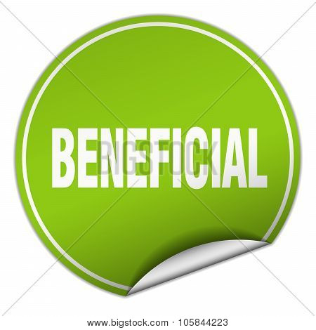 Beneficial Round Green Sticker Isolated On White