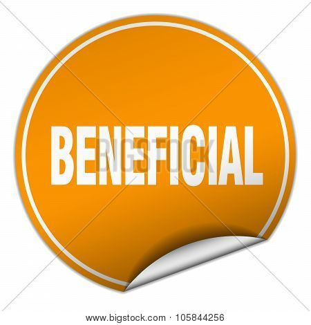 Beneficial Round Orange Sticker Isolated On White