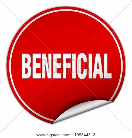 Beneficial Round Red Sticker Isolated On White