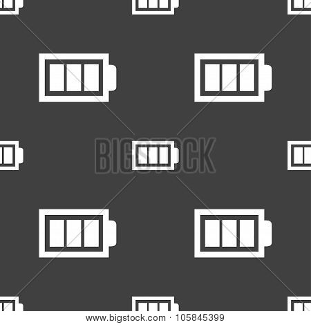 Battery Fully Charged Sign Icon. Electricity Symbol. Seamless Pattern On A Gray Background. Vector