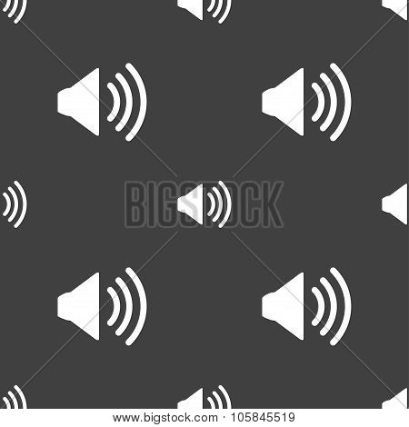Speaker Volume Sign Icon. Sound Symbol. Seamless Pattern On A Gray Background. Vector