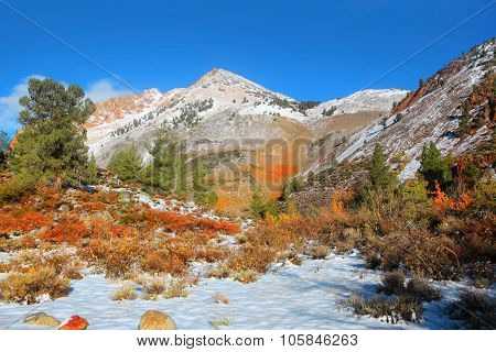 Snow covered Mount Emerson mountain in Sierra mountains