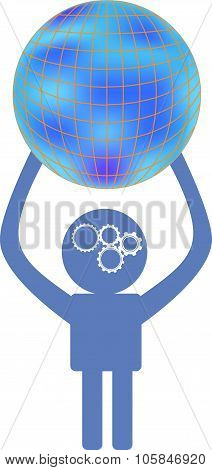 Thinking man is  holding terrestrial globe, concept icon