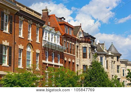 Residential townhouses in Washington DC USA.