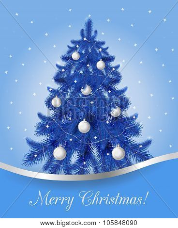 Greeting card with blue Christmas tree.