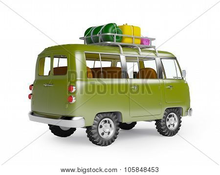 safari van with roofrack back