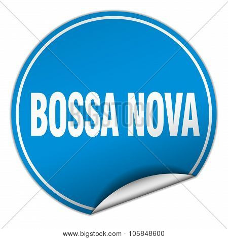 Bossa Nova Round Blue Sticker Isolated On White