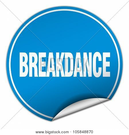 Breakdance Round Blue Sticker Isolated On White