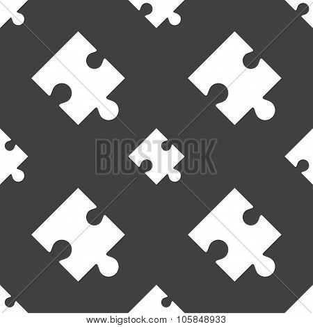 Puzzle Piece Icon Sign. Seamless Pattern On A Gray Background. Vector