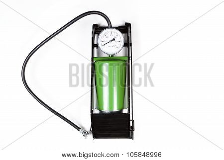 the air pump with gauge isolated on white background