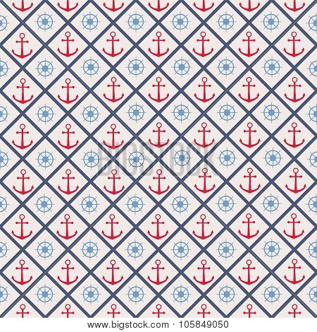 Seamless pattern with cross lines, steering wheel and anchor.