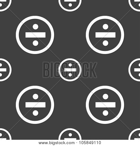 Dividing Icon Sign. Seamless Pattern On A Gray Background. Vector