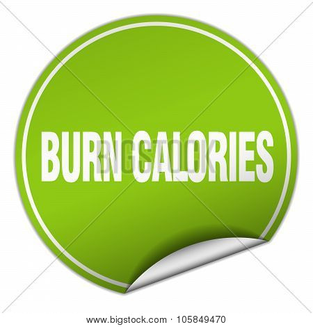 Burn Calories Round Green Sticker Isolated On White