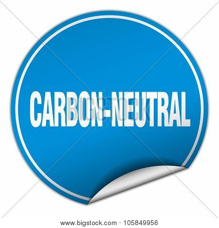 Carbon-neutral Round Blue Sticker Isolated On White