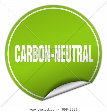 Carbon-neutral Round Green Sticker Isolated On White