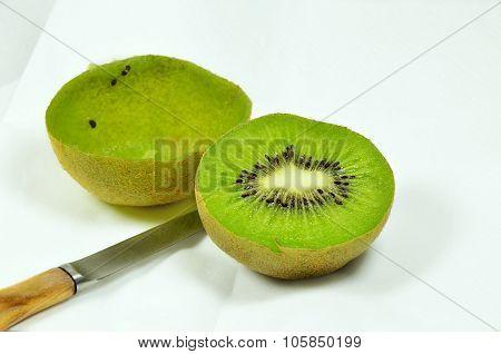 Halved Kiwi Fruits