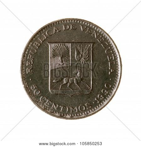 Venezuela Fifty Cents Coin Isolated On White Background. Top View.