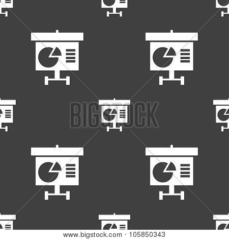 Graph Icon Sign. Seamless Pattern On A Gray Background. Vector