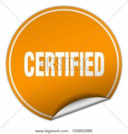Certified Round Orange Sticker Isolated On White