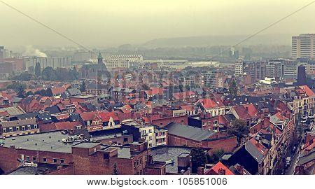 Vintage Look With Aerial View Of Leuven, Belgium-1