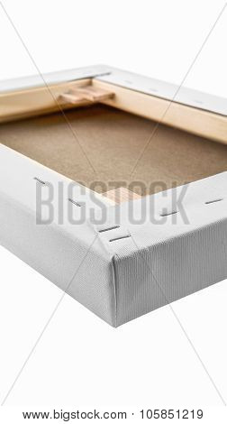 Gallery Wrapped Blank Canvas On Wooden Frame Detail - Stretcher Bar Frames Back Side Isolated On Whi
