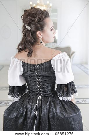 Beautiful Medieval Woman In Black And White Dress, Back