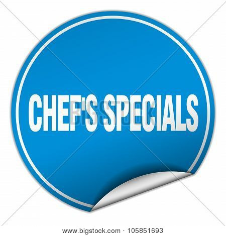 Chef's Specials Round Blue Sticker Isolated On White