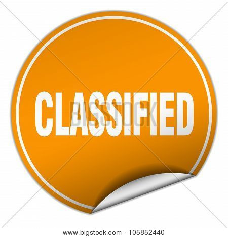 Classified Round Orange Sticker Isolated On White