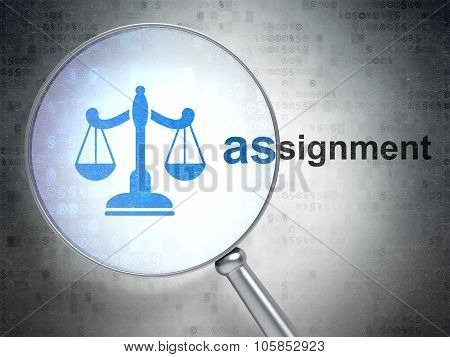 Law concept: Scales and Assignment with optical glass
