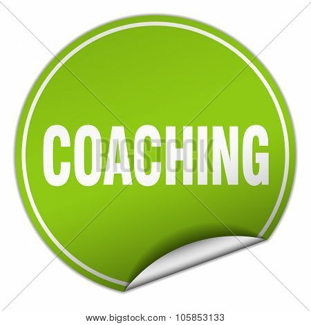 Coaching Round Green Sticker Isolated On White