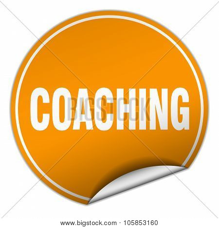 Coaching Round Orange Sticker Isolated On White