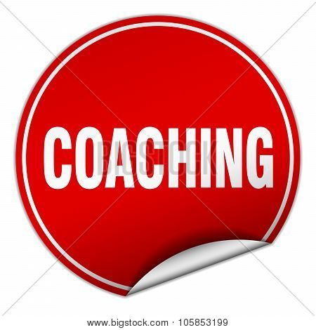 Coaching Round Red Sticker Isolated On White