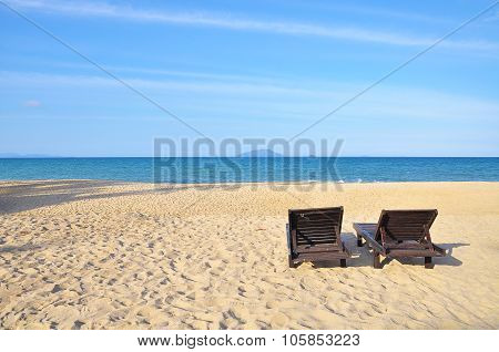 Beach Chairs On Sand Beach. Concept For Rest, Relaxation, Holidays, Spa, Resort With Copy Space Area