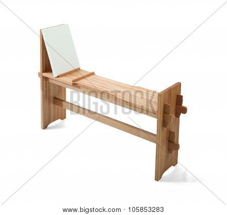 White Painter Canvas On Wooden Painter Bench Isolated On White