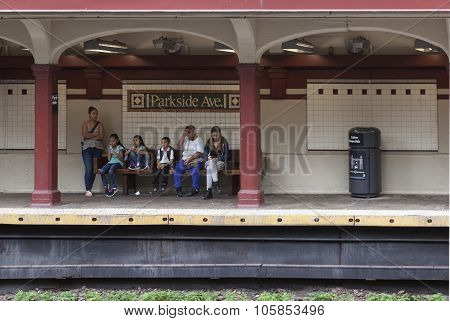 People Wait In Subway Station Parkside Ave In Brooklyn New York City