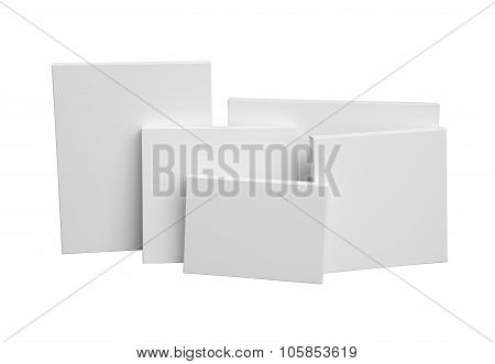 Gallery Wrapped Blank Canvas On Wooden Frame - Stretcher Bar Frames Front View Isolated On White