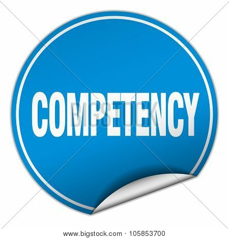 Competency Round Blue Sticker Isolated On White